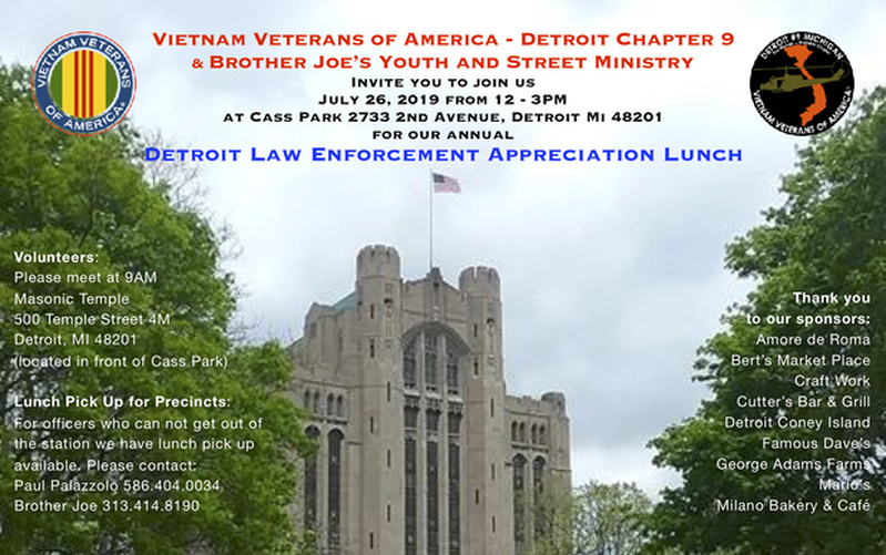 DETROIT LAW ENFORCEMENT APPRECIATION LUNCH JULY 26
